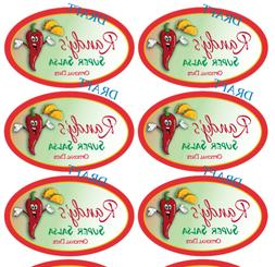 "10 OVAL Salsa Hot Sauce LABELS Barbecue 3.25 x 2"" Personaliz"