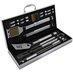 BBQ Grill Tools Set with 16 Barbecue Accessories - Stainless