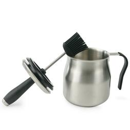 BBQ Stainless Steel Sauce Pot with Silicon Basting Brush Set
